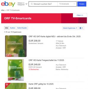ORF Verschlüsselung umgehen mit ORF Digital Karte. Screenshot von eBay